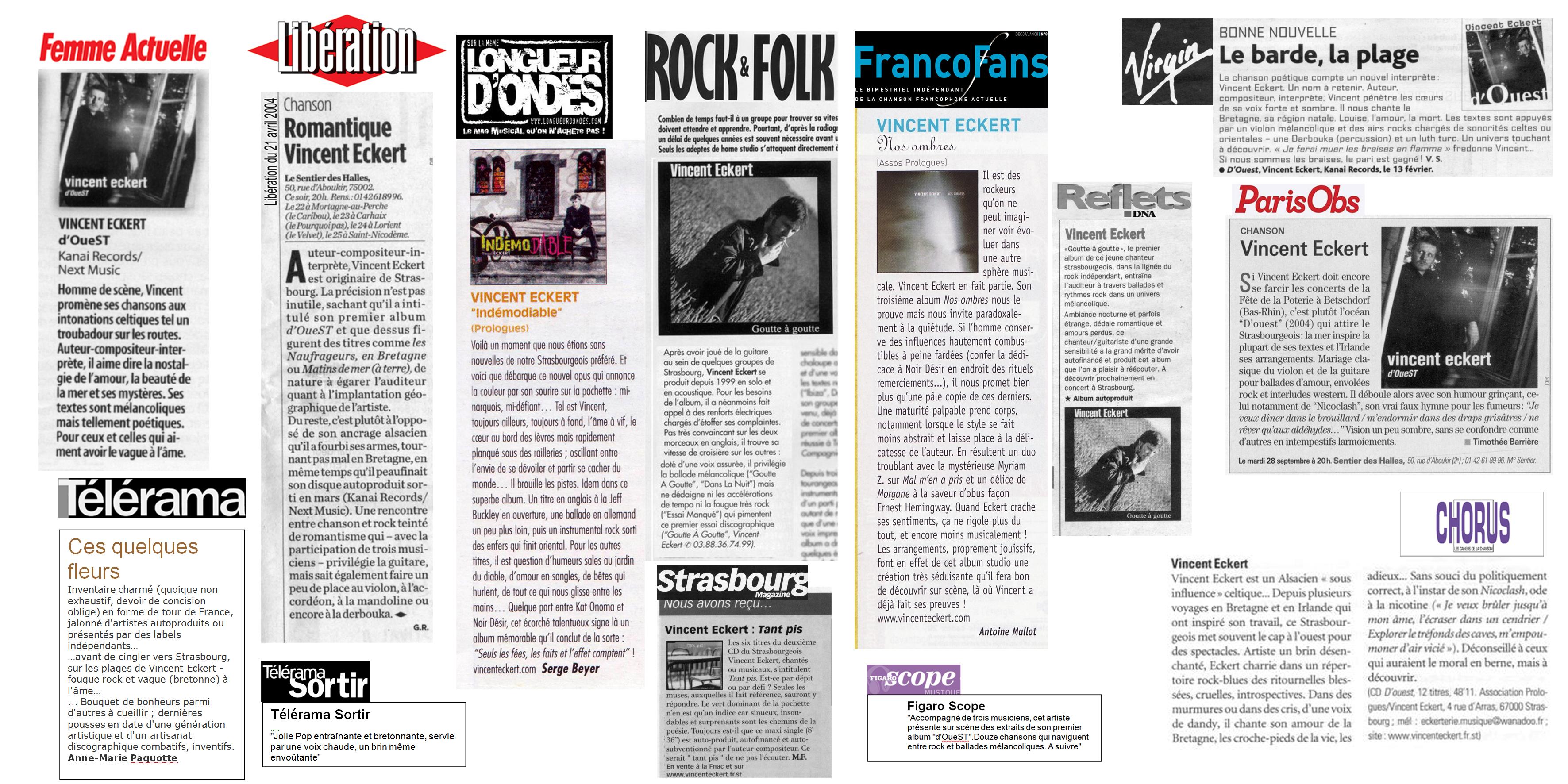 Vincent ECKET femme actuelle libération presse nationale rock&folk télérama chanson française rock longueurs d'ondes l'obs le figaro Chorus DNA Ouest France